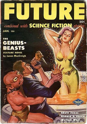 Future Science Fiction, Pulp Magazine - 1951 Jan So the bug-eyed monster is trying to stop the human from killing the scantily clad maiden, that's a twist.