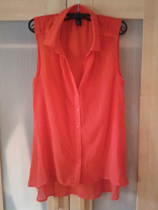 Sexy kanllig rote Bluse von H&M, ärmellos - kleiderkreisel.de