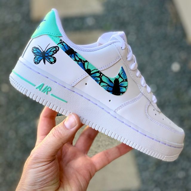 Blue Butterfly Air Force 1 in 2020 | Nike shoes air force