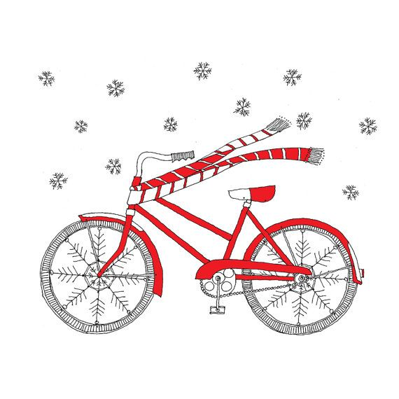 Winter Bike Card  Christmas Card  Holiday Card
