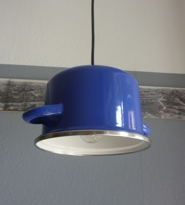 Hängelampe aus blauem Topf // lamp blue cooking pot by chAnGee via DaWanda.com