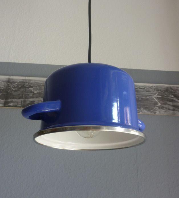 Hängelampe aus blauem Topf // lamp blue cooking pot by chAnGee via DaWanda.com