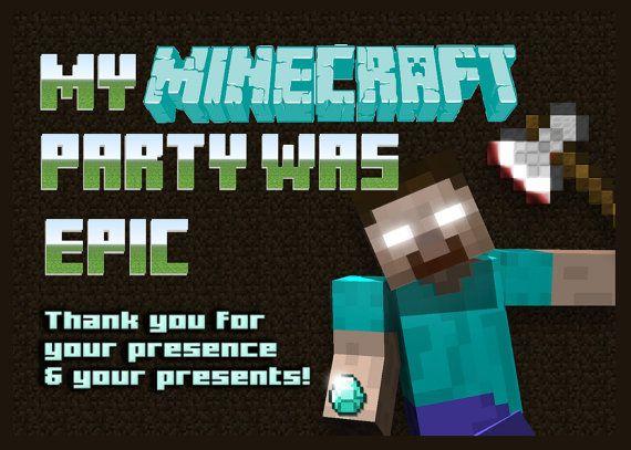 Minecraft Herobrine Birthday Printable Thank You Card On