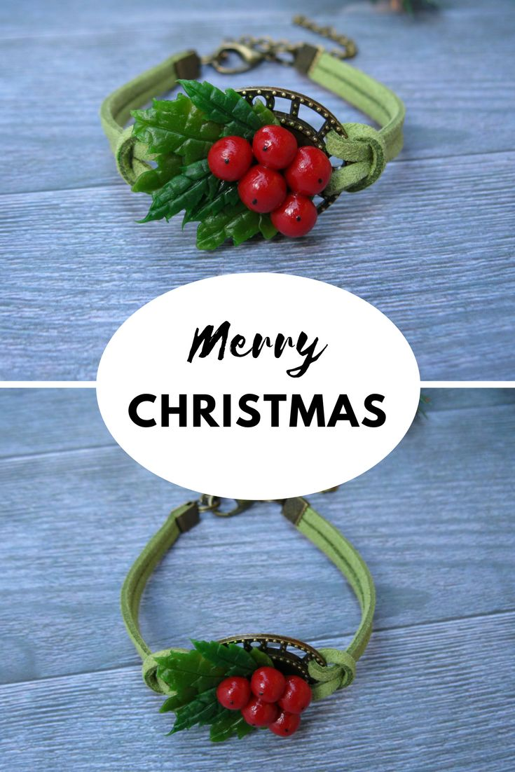 Bracelet with holly berries is a beautiful jewelry for Christmas. It's also a perfect holiday gift for friend.   Berries and leaves are made of polymer clay (cold porcelain) absolutely by hand. It's a hypoallergenic material. #holly #christmasgifts #holiday #bracelet #giftideas