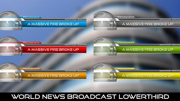 World News Broadcast Lowerthird  6 Lowerthirds | Full HD 1920×1080 | Quicktime PNG alpha codec | Each 10 seconds  If you love my work, don't forget to rate it. Thank you.  #envato #videohive #aftereffects #motiongraphic #animatedlowerthird #breakingnews #broadcast #caption #color #elegant #modern #news #presentation #professional #shiny #simple #television #text #title