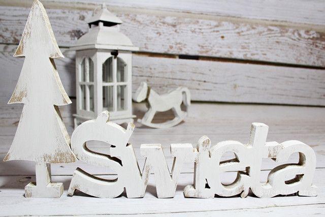 DUŻY Napis drewniany ŚWIĘTA litery 3D xmas GRATIS - sweety-home - Litery i napisy