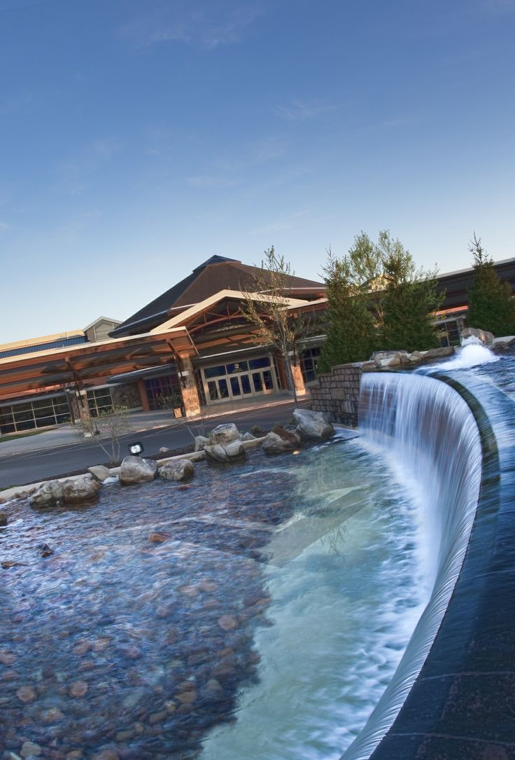 This image shows the Front Entrance of the Sevierville Convention Center and also highlights the beautiful waterfall!