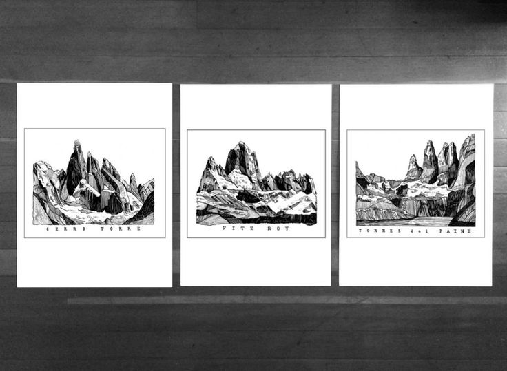 Excited to share the latest addition to my #etsy shop: Black and White Triptych,Mountain Art Print,Set Of Three Prints,Landscape Triptych,Wall Art,Patagonia Illustrations,Travel,Minimalist Art http://etsy.me/2imcsgE #housewares #homedecor #white #black #bedroom #blackandwhite #tr