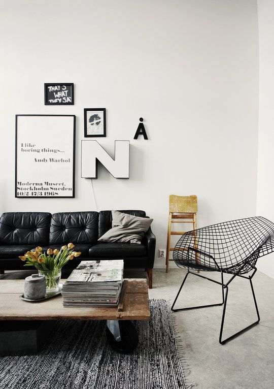 black and white living room: Wall Art, Coffee Tables, White Living, Living Rooms, Leather Couch, Leather Sofas, Black And White, Black White, Wire Chairs