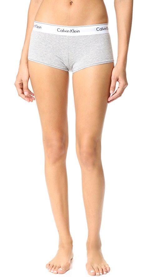Calvin Klein Underwear Modern Cotton Boy Shorts | Classic Calvin Klein Underwear boy shorts with a wide, logo-print waistband. Dense whipstitching traces the leg openings. 53% cotton/35% modal/12% elastane. Wash cold. Imported, China.