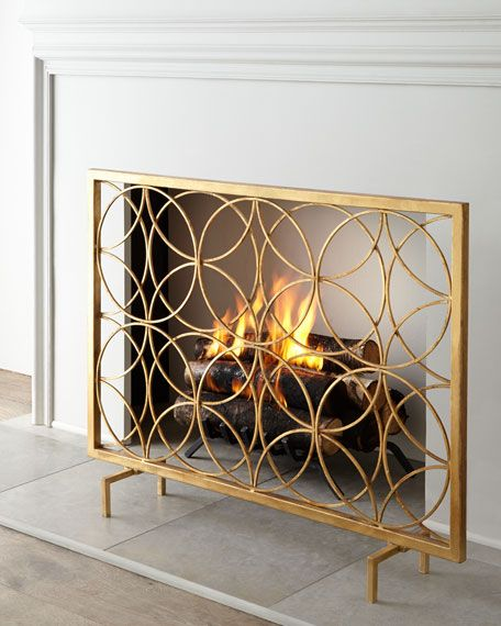 """Handcrafted fireplace screen. Made of iron. Hand-painted antique-gold finish. 41""""W x 8""""D x 32""""T. Imported. Boxed weight, approximately 22.9 lbs."""