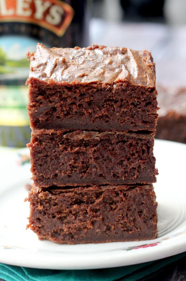 Irish Cream Brownies #recipe. Look how fudgy!