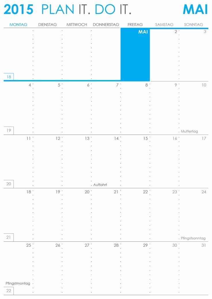 Monatskalender 2015 im Hochformat als PDF herunterladen und ausdrucken | PLANDO.CH #Kalender