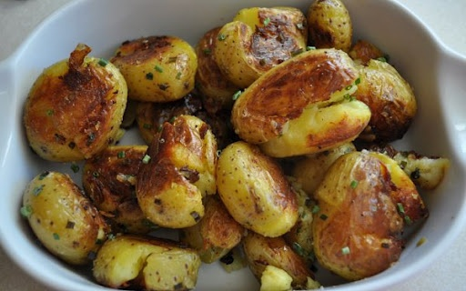 Smashed New Potatoes With Garlic And Chives Recipes — Dishmaps