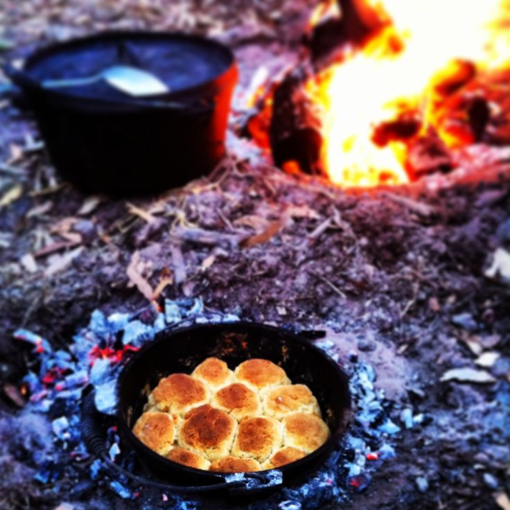 Black Cockatoo Bush Camp, Naracoorte: South Australia. Slow cooked yellow Thai vegetable curry, & Aussie Damper cooked in a cast iron pot over the log fire. Delicious!