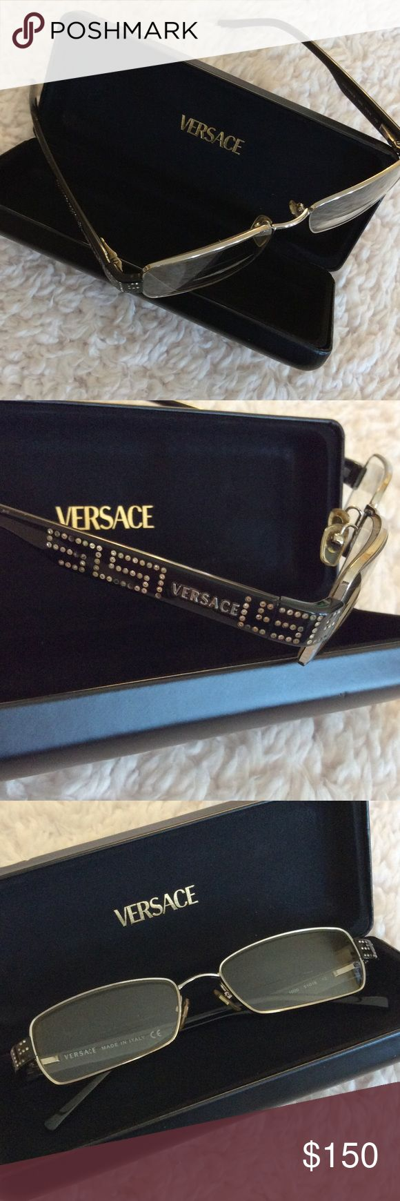 💞VERSACE glasses and case💞eyeglasses Preowned, in used good condition, glasses are with diopter, but you can, use just frame for your needs, and put your prescription lenses Versace Accessories Sunglasses