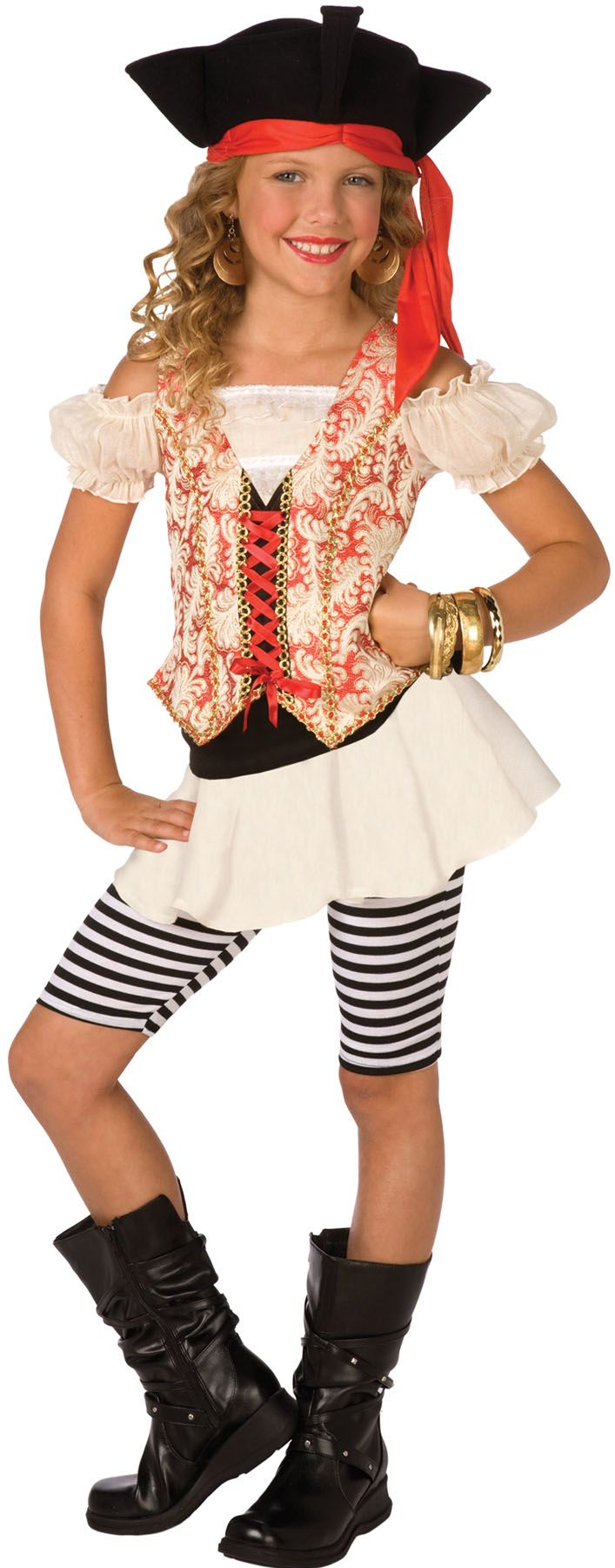 This adorable deluxe Girl Swashbuckler pirate costume includes fancy dress with vest, black & white striped leggings, and black hat with attached red bandanna. Description from veilep.com. I searched for this on bing.com/images
