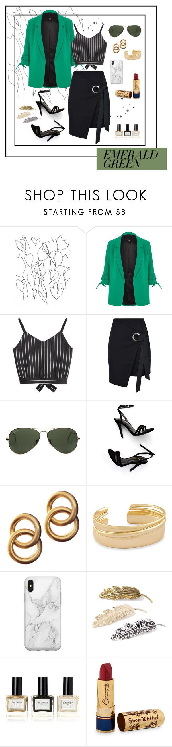 """Emerald City: Pops of Green (Contest)"" by phoebewj ❤ liked on Polyvore featuring Blume, River Island, George J. Love, Ray-Ban, LULUS, Laura Lombardi, Kendra Scott, Recover, Balmain and Bésame"