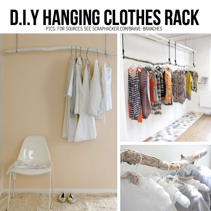 Hanging DIY clothes racks for an open closet for guest room