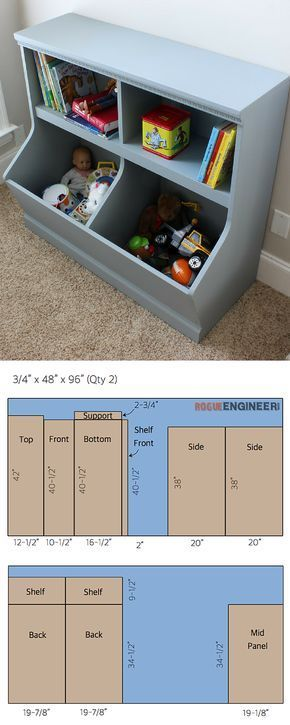 If you have kids, then you know how important storage is! This ‪#‎DIY‬ wall unit provides a bookshelf and divided bins to store toys. FREE PLANS from @rogue_engineer at buildsomething.com Woodworking and crafting
