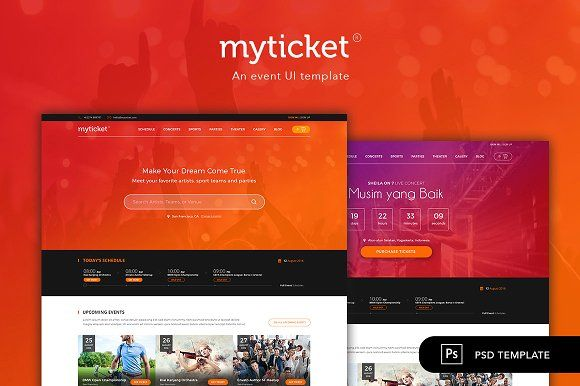 MyTicket - An Event Ticketing PSD by peterdraw on @Graphicsauthor