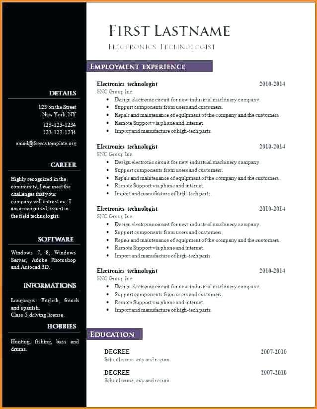 Libreoffice Resume Template Word Resume Template Free