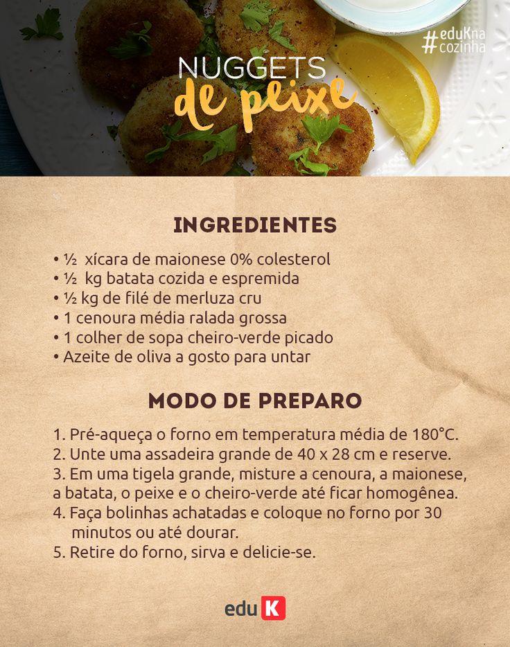 Teste essa receita de nugget caseiro de peixe! E na eduK você pode aprender mais receitas com peixe!