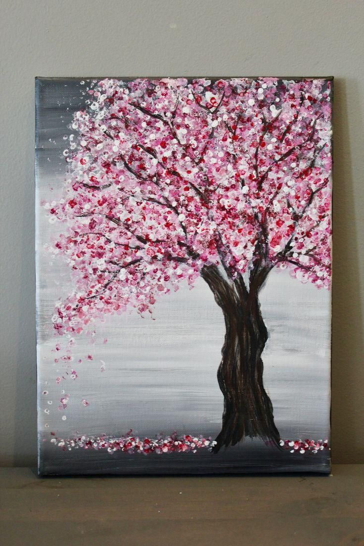 Painting A Cherry Blossom Tree With Acrylics And Cotton Swabs Looking For An Easy Cherry Blossom Painting Diy Canvas Art Painting Acrylic Painting Canvas