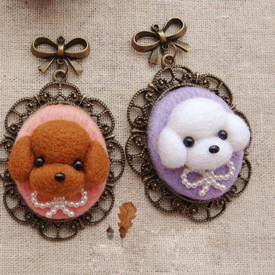 Needle Wool Felted Felting Animals Dog Necklace Cute