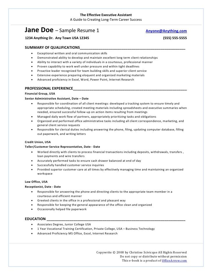 The Effectiveexecutiveassistant Resume Resume Template Professional Resume Examples