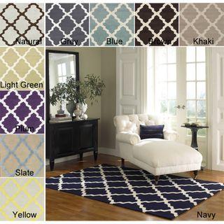 Hand-hooked Alexa Moroccan Trellis Wool Rug (6' x 9')