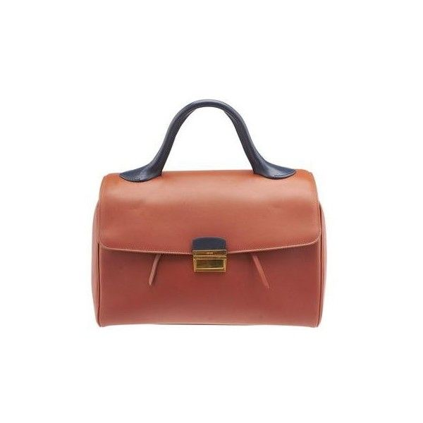 Pre-owned Celine Brick Camel Leather Top-Handle Satchel ($960) ❤ liked on Polyvore featuring bags, handbags, red leather purse, leather handbags, leather satchel, leather purses and leather man bags