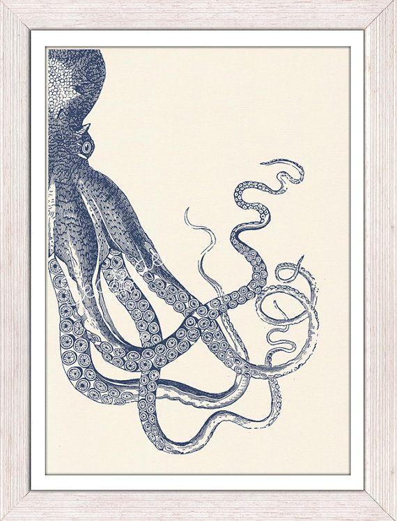Poulpe Vintage n 20 impression de vie mer-bleu par seasideprints