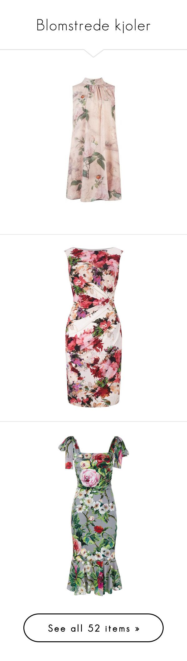 """Blomstrede kjoler"" by louvillia ❤ liked on Polyvore featuring dresses, ted baker dresses, flower pattern dress, ted baker, flower print dress, floral printed dress, pink mini dress, pink midi dress, midi pencil dress and long-sleeve mini dress"