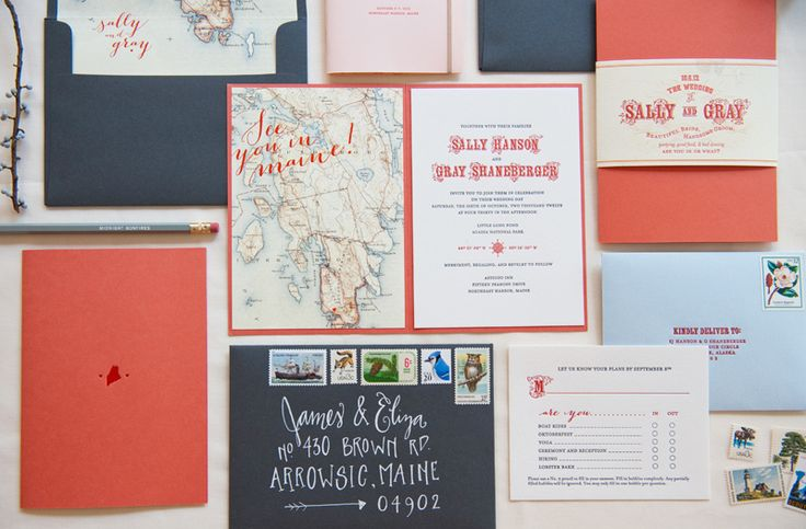 Maine Map & Travel-Inspired Destination Wedding Invitations by Gus & Ruby Letterpress | gusandruby.com      (featured on Oh So Beautiful Paper)