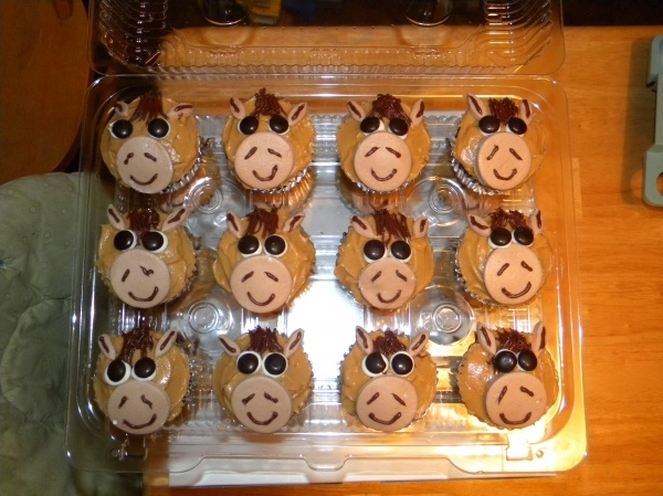 Horse cupcakes with cake cut out nose, sprinkles, m&ms and licorice forelock