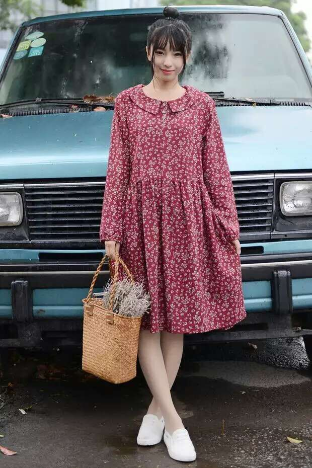 手机壳定制sandals sale online Mori Style Ditsy Dress   Autumn New Arrivals woman long sleeved dresses in Korean Mori girl dress Peter Pan collar printed long dress