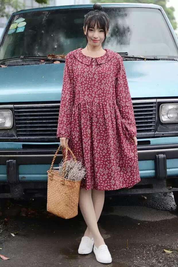 Mori Style Ditsy Dress 2015 Autumn New Arrivals woman long-sleeved dresses in Korean Mori girl dress Peter Pan collar printed long dress