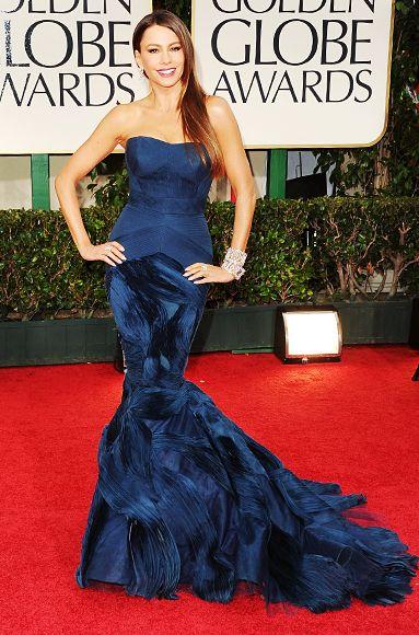 "Sofia Vergara  ""This dress is like a mermaid,"" said the Modern Family actress of her custom peacock Vera Wang design."