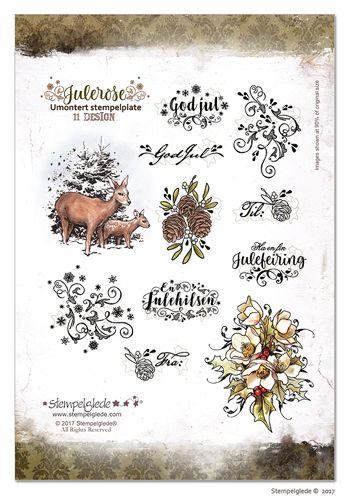 © Stempelglede® Julerose. Umontert stempelplate. http://http://www.stempelglede.com/stemplerjulerose.html