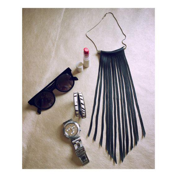 Black Faux LEather Fringes Necklace, Black leather fringes, Statement necklace, Fringes Necklace, Dylanlex inspiration, Women's day