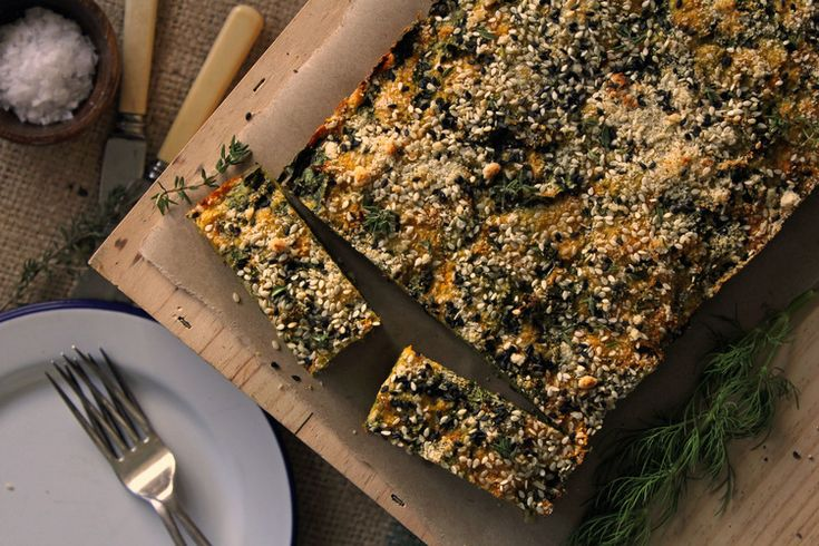 Winter vegetable slice w/ crunchy almond & black sesame crumb — bonnie delicious