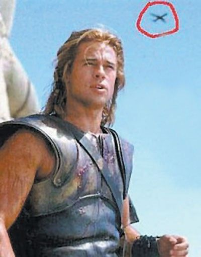 Most people were probably too focused on Brad to notice the plane above his head in a movie that was supposed to take place in ancient Greece.  LOL