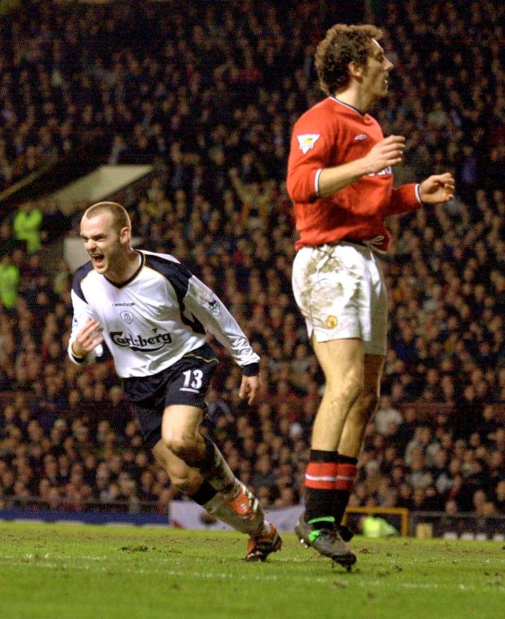 Man Utd 0 Liverpool 1 in Jan 2002 at Old Trafford. Danny Murphy scores the only goal of the game #Prem