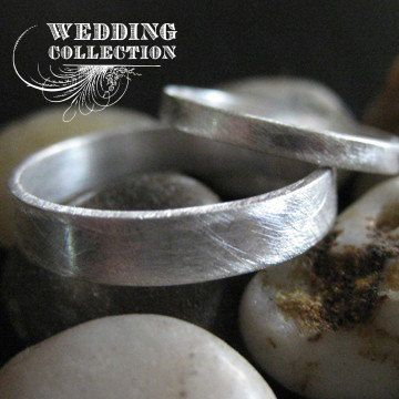 Recycled Palladium Wedding Ring Set Simple by VKDesignsJewelry, $505.00