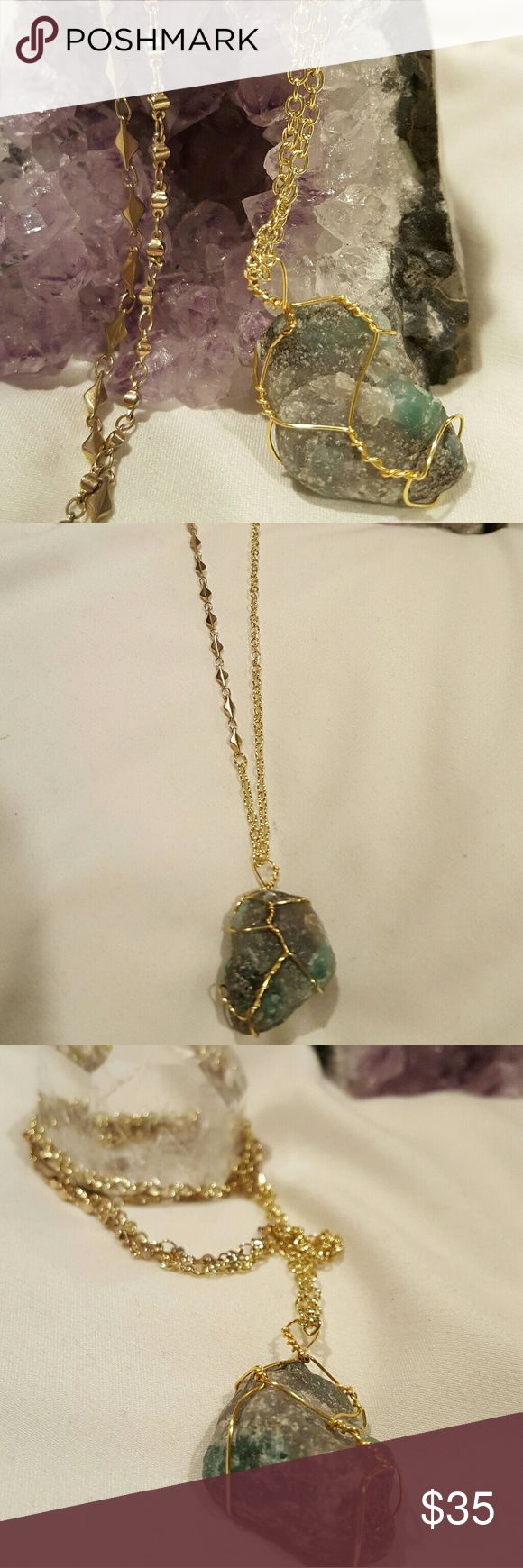 Emerald Wire wrapped necklace This beautiful Emerald raw crystal is the stone of The goddess Venus. This stone was used to preserve love. Jewelry Necklaces