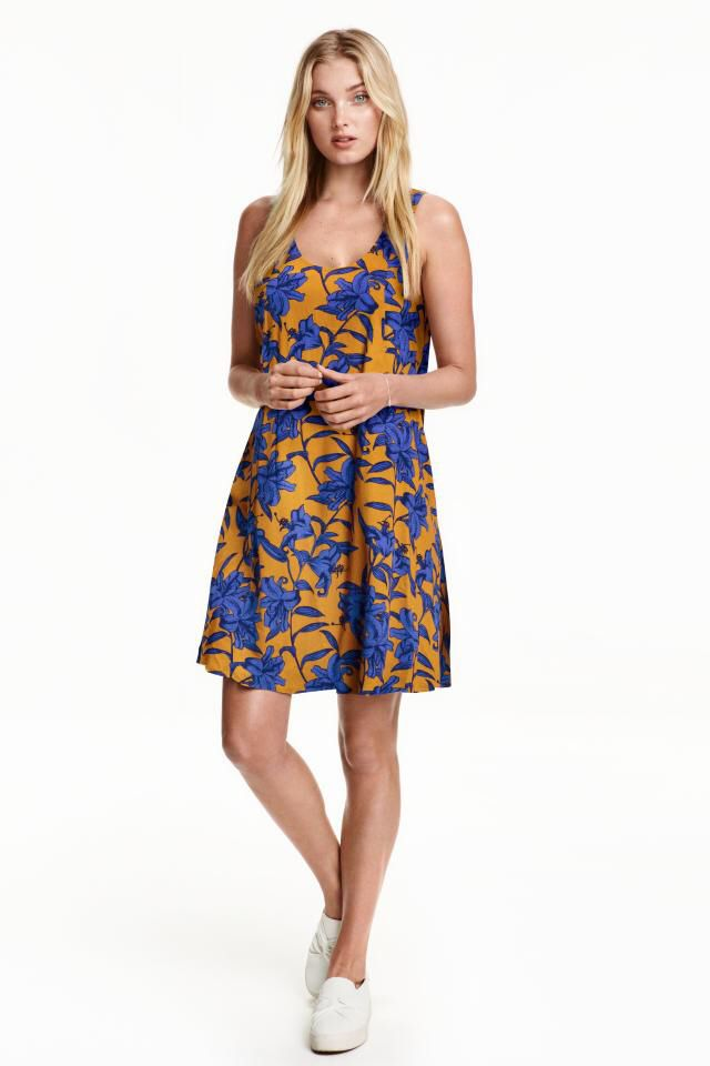 H&M floral gold blue swing dress