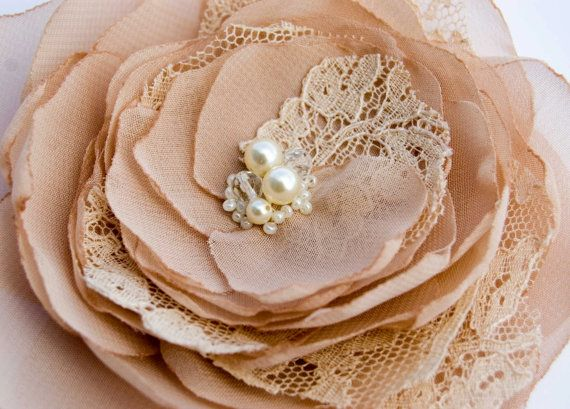 fabric flower, lace