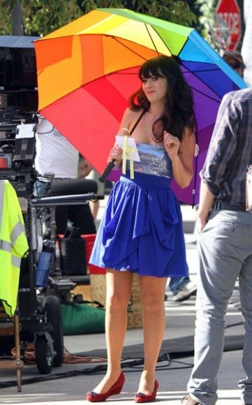 Zooey Deschanel On The Set Of 'New Girl' In Los Angeles: Party Outfit, Blue Strapless, Sequin Dress, Aqua Dresses, New Girl, Clothing Inspiration, Bright Dresses