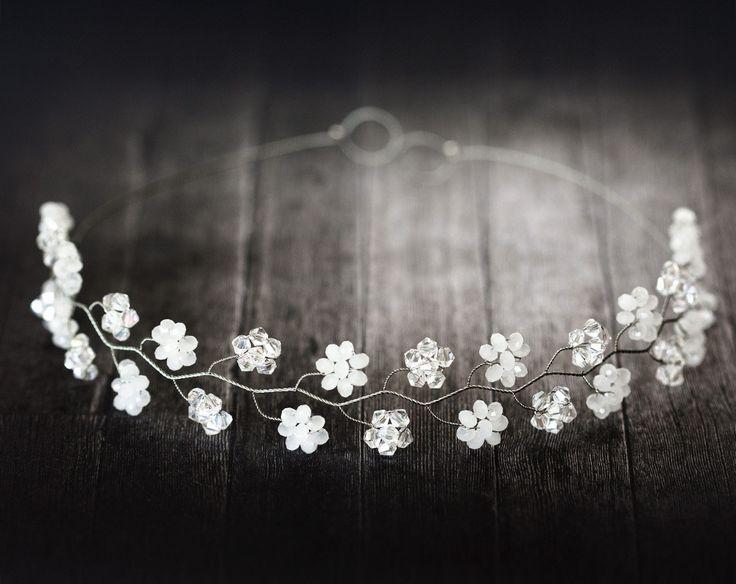 Crystal flower diadem, White floral crown, Bridal diadem, Silver wedding diadems, Fairy crown, Crystals bridal crown, Floral diadem.